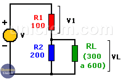 Diseño de divisor de voltaje para alimentar resistencia de carga