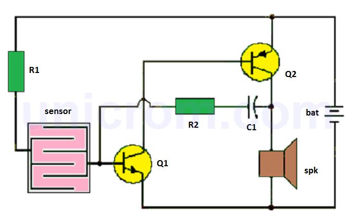 Detector de lluvia con dos transistores