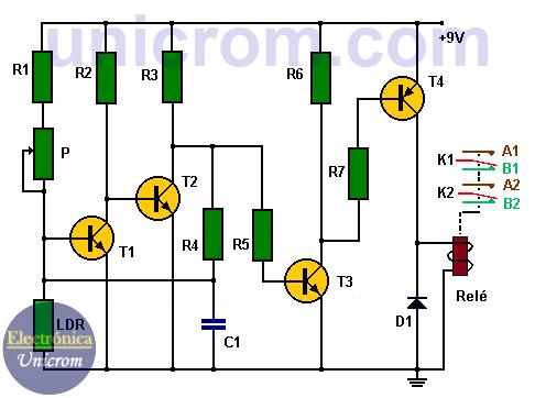 Detector de luz transistorizado con salida por Relé