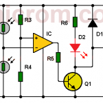 Circuito detector de sombra con dos LDRs