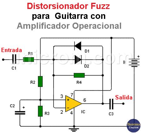 Distorsionador Fuzz para Guitarra con Amp. Op.