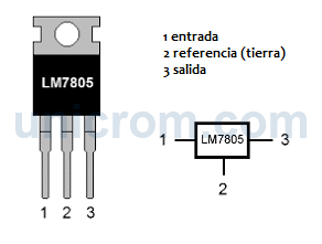 Distribución de pines (patillas) del regulador de voltaje LM7805