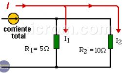División de corriente en resistencias en paralelo