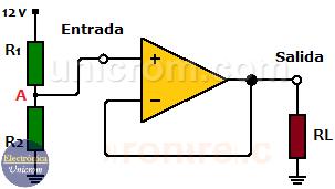 Ejemplo de Seguidor de Voltaje con Amplificador Operacional