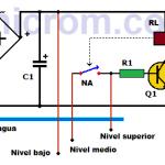 Control de nivel de agua con transistor y relé (Electronivel)