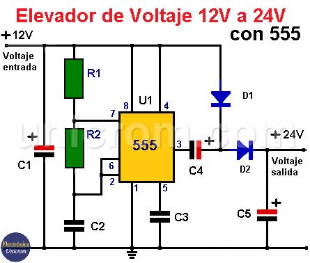 Elevador de voltaje 12VDC - 24VDC con 555