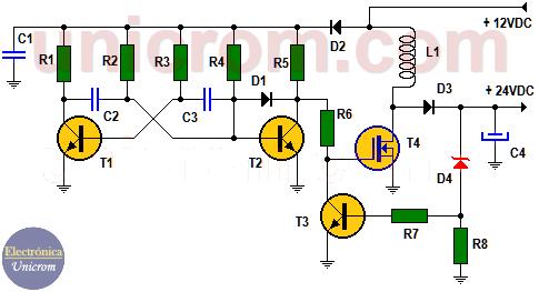 Elevador de voltaje de 12 a 24 vdc, 1 amperio