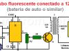 Tubo fluorescente conectado a 12VDC usando 555