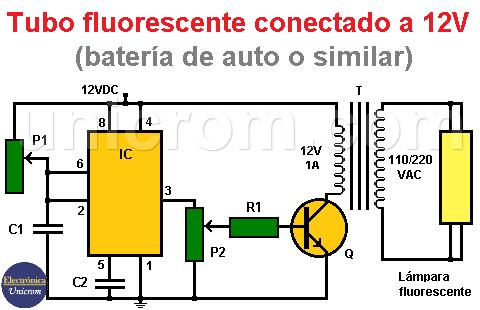 Tubo fluorescente conectado a 12VDC con 555