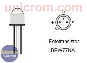 Fototransistor BPW77NA - configuración de pines