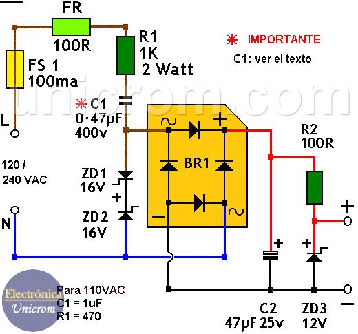 Fuente de 12 VDC sin transformador