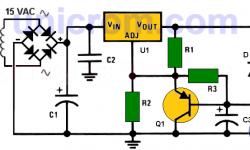Fuente de 15V con LM317-N y activación retardada