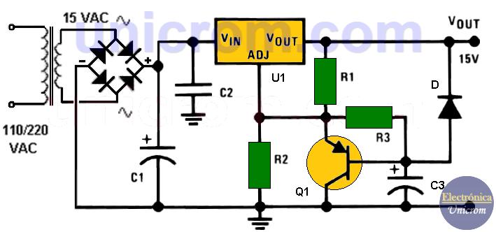 Fuente de 15 V con LM317 y activación retardada