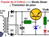 Fuente de 9 V con Zener y Transistor
