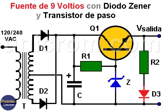Fuente de 9VDC con zener y transistor de paso