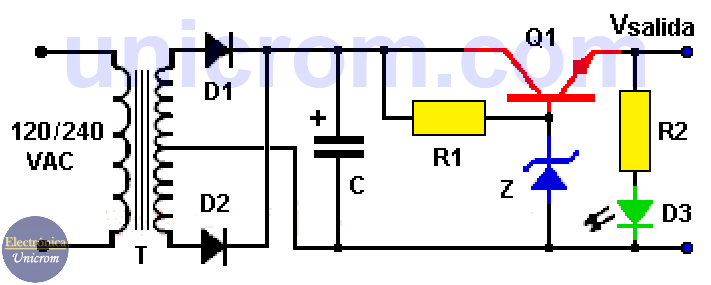 Fuente de 9 voltios con diodo Zener y transistor