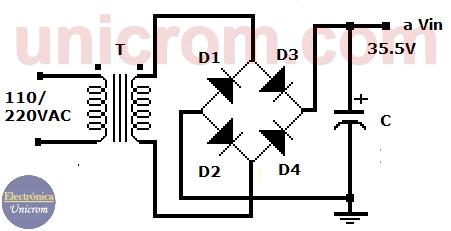 Fuente no regulada (transformador, diodos, condensador / filtro)