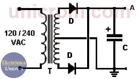 Fuente no regulada - Transformador, diodos y condensador electrolítico