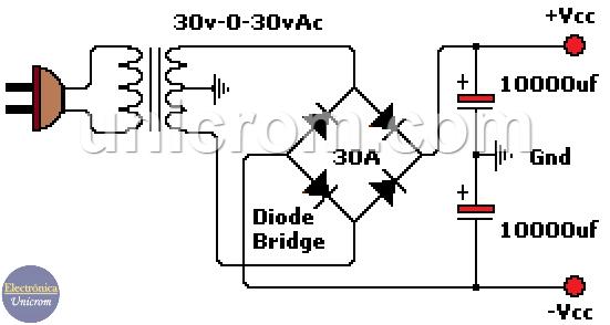 Fuente no regulada con dos transformadores de 120/240 VAC a 60VAC