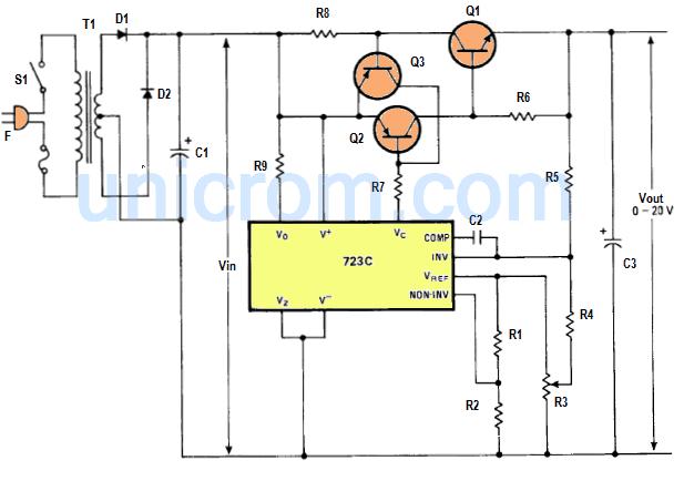 Fuente regulable 0 - 20 Voltios con LM723C
