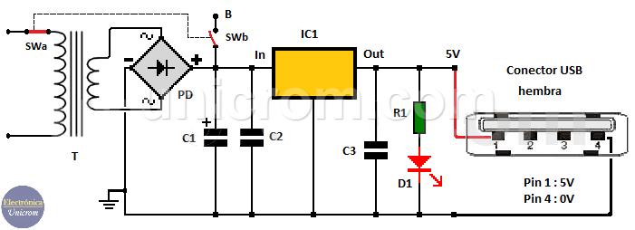 Fuente de voltaje para dispositivos USB - 5 voltios