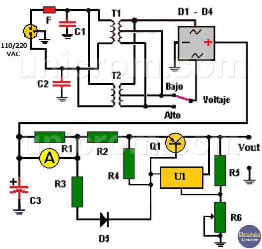 Cómo hacer fuente de voltaje variable 4A con LM317 y transistor