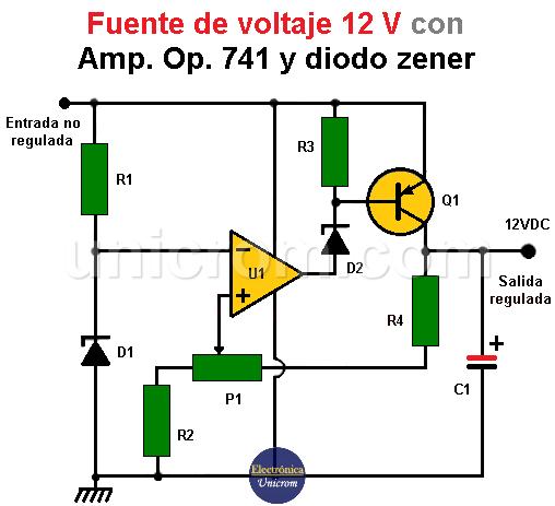 Fuente de voltaje de 12 v con Amp. Op. y diodo Zener
