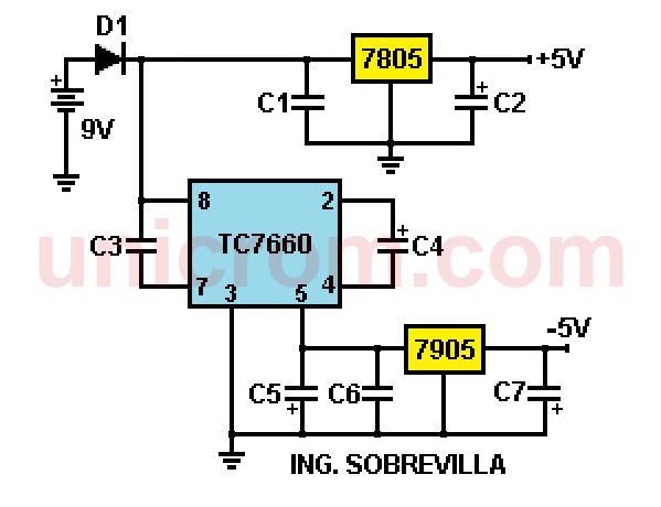 Fuente de voltaje simétrica para dispositivos portátiles