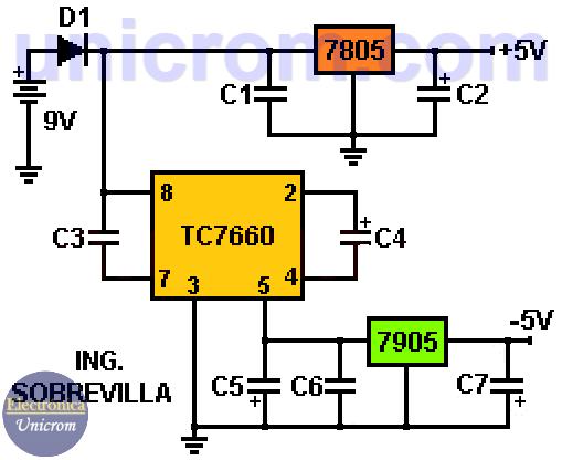 Fuente de voltaje simétrica +5V y -5V para dispositivos portátiles