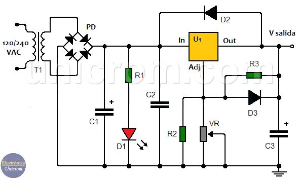 Fuente de voltaje variable de 5A con LM338