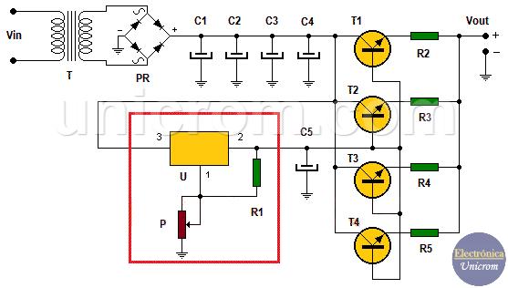 Fuente de voltaje variable de potencia con lm317