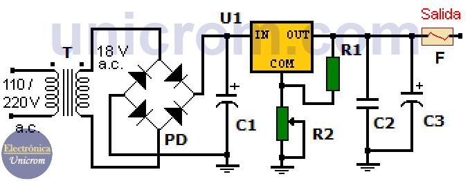Fuente de voltaje variable con lm317