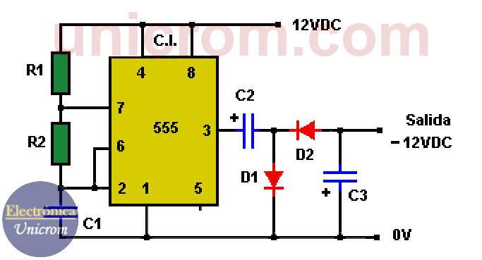 Obtener -12VDC a partir de +12VDC con 555