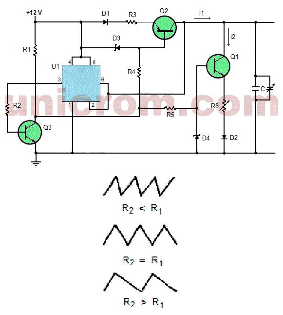 Generador de onda triangular de simetría ajustable con 555