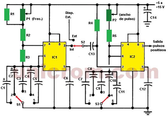 Generador de pulsos de amplio rango con dos 555