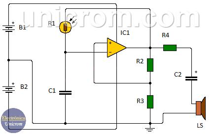 Generador de sonido sensible a la luz con LDR y 741