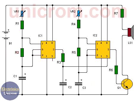 Generador de tonos con dos 555 -- Generador de sonidos con dos 555
