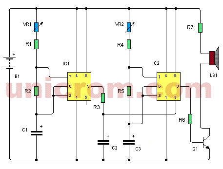 Generador de tonos con dos 555