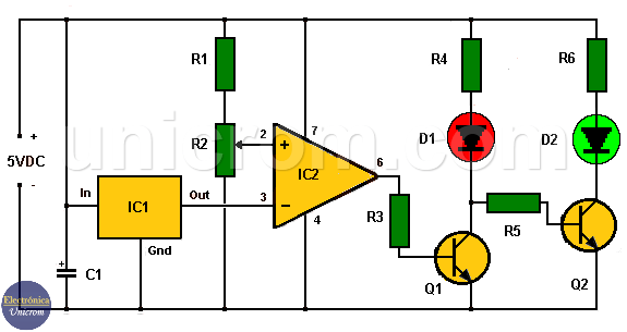Indicador cambio de temperatura con lm35 y 741