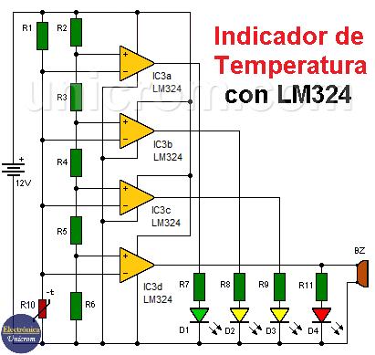 Indicador de temperatura con LM324