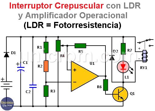 Interruptor crepuscular con amplificador operacional y LDR