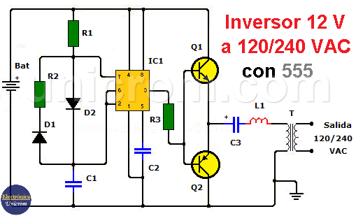 Inversor 12 VDC a 120/240 VAC con 555