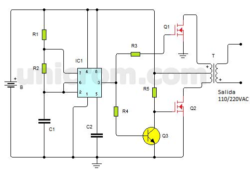 Inversor de voltaje de 100 watts con 555 y Mosfets