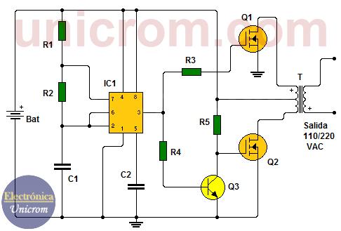 Inversor de voltaje de 150 watts con 555 y MOSFETS