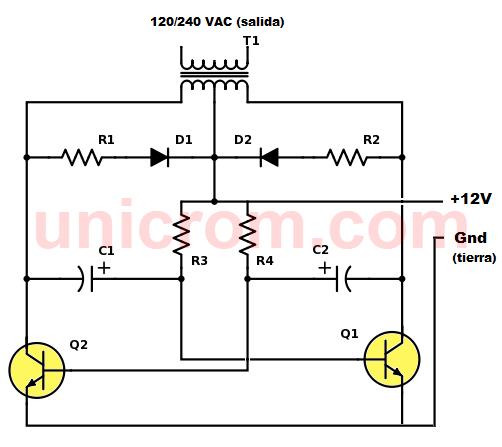 Inversor 12VDC a 120VAC con 2 transistores