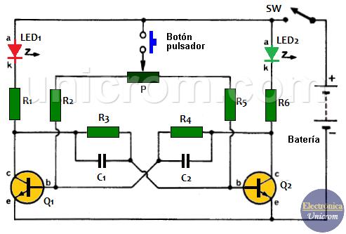 Juego cara o cruz electrónico con transistores y LEDs