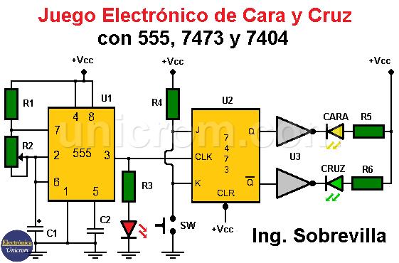 Juego electrónico de Cara o Cruz con 7473 y 555
