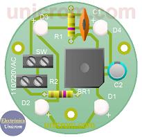 Circuito impreso del lado componentes de lámpara de 4 leds 120/240VAC