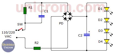 Lámpara de LEDs a 110/220VAC (circuito)