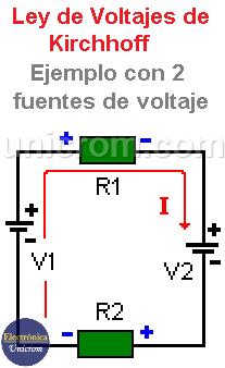 Circuito con dos fuentes de voltaje - Ley de voltajes de Kirchhoff